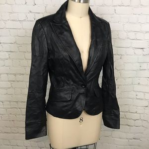 Vintage black soft Leather Blazer Jacket Small